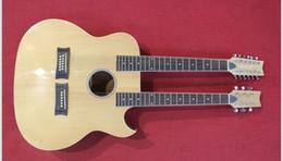 Cous de guitares acoustiques en Ligne-Nouvelle marque de guitare électrique double acoustique avec cutway et égaliseur en couleur nature