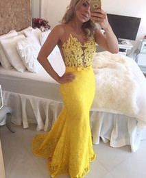 Wholesale Sheer Mermaid - 2017 sexy long yellow lace beaded sheer tulle top sleeveless zipper crew mermaid dress evening prom gowns