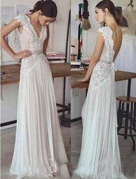 Wholesale Empire Chiffon Straps - Cheap A Line Capped Sleeves Wedding Dresses V Neck Applique Lace Backless Sexy Bridal Gowns Chiffon Skirt Beading Sash 2017