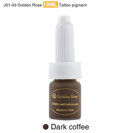 Wholesale Tattoo Pigment Ink Mix - Wholesale- Golden Rose Professional Eyebrow Tattoo Ink Lips Permanent Makeup Pigment Dark Coffee Paint 10ML 3 Pieces lot Mixed Colors