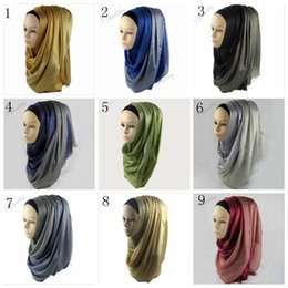 Wholesale Muslim Headbands - Women Muslim Silk Scarfs Winter Wraps Foulard Viscose Hijabs Scarves shawls Hijab Scarves Long Scarf Half Silver Glitter 29 colors YYA444