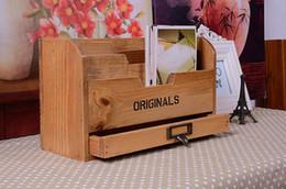 Wholesale File Box Storage Organizer - 1PC New Zakka vintage grocery wooden office desk box file storage box with drawer Vintage Postcard Box J0914