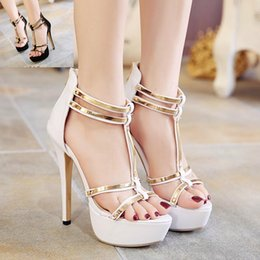 Wholesale Dresses Pary - Elegant white gold T strap platform high heel wedding shoes 14cm sexy women pary club dance shoes size 35 to 40