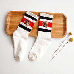 Wholesale Red Head Art - fashion popular white black Embroidery tiger head Socks Antibacterial Deodorant Cotton Fashion Unisex Socks Sport Socks winter sock
