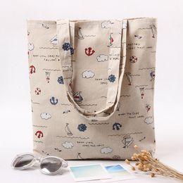 Wholesale Cheap Beach Bags Wholesale - Original Jute Totes Casual Shopper Beach Bags Cheap Hand Bags For Women 2017 Hot Sale Anchor Print Sacks