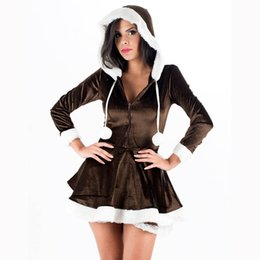 Wholesale sexy female santa costumes - Free Shipping 30% Off Good Quality V-neck Xmas Sexy Women Brown Fur Christmas Costume with Hoddies W4005A
