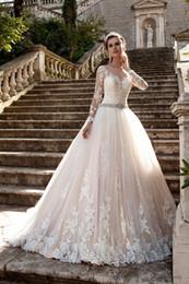 Discount vestidos wedding dress lace - Gorgeous Lace Ball Gown Wedding Dresses Court Train Long sleeve Vintage Lace Bridal Gowns No Sleeve 2016 Vestidos De Novia Exquisite