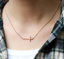 Wholesale Sideways Crosses Necklace - Fashion Simpleness Style necklaces for women Rose Gold Horizontal Sideways Cross Necklace Adjustable Chain Necklace Gift