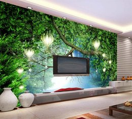 Wholesale Oil House - Dream animal world jungle wallpaper theme room restaurant bar hand painted oil painting 3D wallpaper forest large fresco