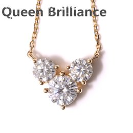 Wholesale moissanite yellow gold - Queen Brilliance Real 18K 750 Yellow Gold AMAZING 2 ct F Color Lab Grown Moissanite Diamond Pendant &Necklace For Women 17903