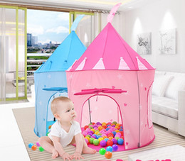Wholesale Playing Girl Tent - INS Girls Portable Palace Castle Prince and Princess Children Playing Toy Tent blue and pink 4colors choose free ship Indoor & Outdoor