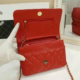 Wholesale Designer Purses Satchel - Classic Vintage Women Crossbody Bag 2018 Genuine Leather Chain Small Shoulder Bags Luxury Famous Designer Women Evening Wallet Purse 20CM
