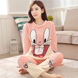 Wholesale Animal Pajamas Bunny - 2017 Winter Pajamas Women Coral Fleece Pajama Pants Thickened Women Sleepwear Cartoon Bunny Cotton Long Sleeve Adult Pajama Sets