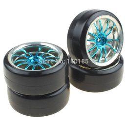 Wholesale Blue Drift Tires - 4PCS Hard Smooth Tires Tyres + Plastic Plating Blue 12-Spoke Wheel Rims for RC 1:10 Drift Car