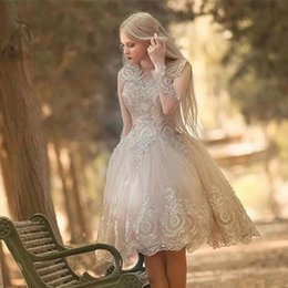Wholesale Knee Long Fairy Dress - Fairy Nectarean Homecoming Dresses Long sleeve With Wonderful Lace high school graduation gowns Special Occasion Party Gowns