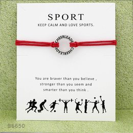 Wholesale Cheerleader Charms For Bracelets - Wish Bracelet Circle Cheerleader Charm Bracelets & Bangles GIfts For Women Girls Adjustable Friendship Statement Jewelry With Card