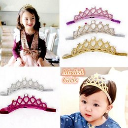 Wholesale Baby Headbands Crystal - INS Baby Girls Glitter Felt Headbands with Colors Crystals Novelty Tiara For Baby Princess headband 5colors choose free ship