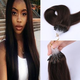 Wholesale Double Drawn 1g Hair Extensions - dark brown #2 micro loop hair extension brazilian human hair micro bead ring double drawn 1g stand 100g