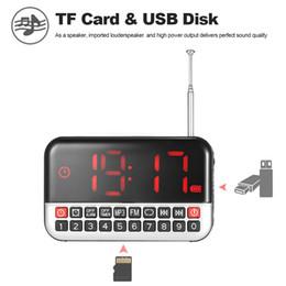 2019 radio sensible Longruner Radio FM Numérique Stéréo Haut-Parleur 12cm Affichage à LED Réveil Horloge USB Disque TF Carte AUX 1500mAh Batterie