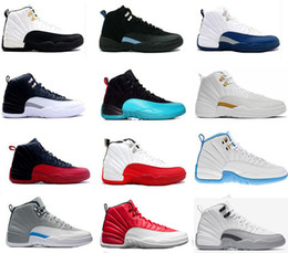 Wholesale Men Shoes Leather Lace - 2017 air retro 12 XII basketball shoes ovo white Flu Game GS Barons wolf grey Gym red taxi playoffs gamma french blue sneaker