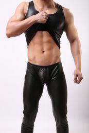 Wholesale Men S Pu Vest - 2017 2016 New O-neck PU Leather Tank Tops Men Sexy Sleeveless Shirts Man Imitatiion Faux Leather Vest or Pants