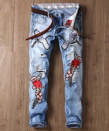 Wholesale Mailing S - 2017 new fashion trend embroidery crane hole straight men's jeans (29-38) package mail