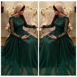 Wholesale long chiffon robe - 2016 Scoop Long Sleeves Emerald Green Muslim Evening Dresses Chiffon Lace Appliques Prom Party Gown Robe De Soiree Longue Modest