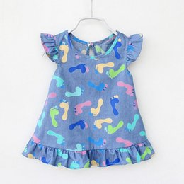 Wholesale Wholesale Digital Printing Clothes - Baby Girls Denim Blue Dress Children Clothing Kids Fashion Print Digital&foot Denim Clothes Kids Causal Style Costumes For Kids 4styles