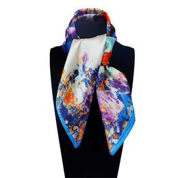 Wholesale Digital Print Silk Scarves - Wholesale-60cm*60cm Women 2016 New Fashion Imitated Silk Digital Printing Flower Printed Small Square Scarf Hot Sale