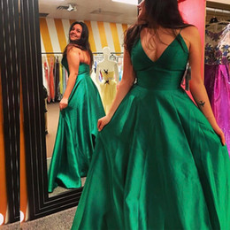 783cb022b1b Emerald Green Prom Dresses New Arrival Plus Size Spaghetti Straps Sleeveless  Simple Elegant Evening Party Gowns Custom Made