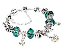Wholesale Green Murano - 2 Colours Pandora Style Charm bracelets Fashion S 925 Murano Glass & Crystal European Charm Beads Fits Charm bracelets Bangles DIY Jewelry