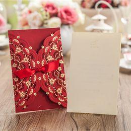 Wholesale Free Wedding Invitations - Wholesale- (50 pieces lot)Vintage Customized Wedding Party Event Free Envelope Unique Design Laser Cut Chinese Wedding Invitation Card