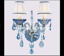 Nouvelle arrivée moderne bleu K9 cristal lampe de mur de luxe chambre chevet mur bougie E14 K9 cristal scones muraux AC 100% garanti ? partir de fabricateur