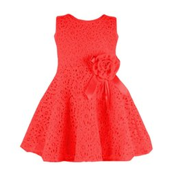 Wholesale Toddler Straight Dresses - Wholesale- Toddler Baby Girls Kids Lace Floral Dress One Piece Party Sleeveless Princess Dresses 3 color
