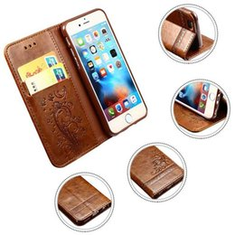 Wholesale embossed wallets - Luxury PU Leather Wallet Case Embossed Flowers With Card Slots For iPhone 8 7 6s plus Samsung Note8 S8 S7 with Retail Package