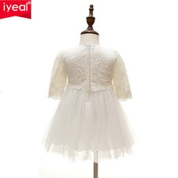 Wholesale Sleeved Formal Gowns - Wholesale- Baby Girl Long Sleeved Formal Dresses for Girl Infant Princess Birthday Party Wedding Dresses For Toddler Chirstening Gown