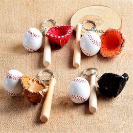 Wholesale Baseball Bat Gifts - Ball Key Ring Baseball Gloves Wooden Bat Bag Keychains Key Chain Ring Cartoon Pendant Keychain Best Christmas Gift DHL Free