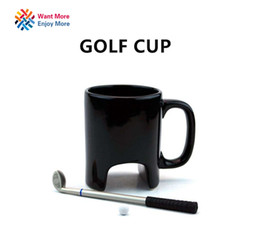 Wholesale lens china - Wholesale- Creative Golf ceramic mug funny black coffee mug office Casual ceramic mug Golf stick pen birthday gift