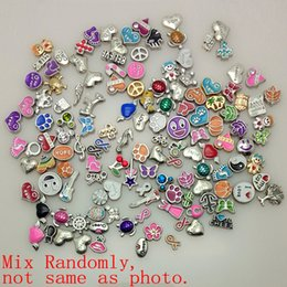 Wholesale Assorted Necklace Designs - locket heart 100pcs lot 2015 New Mix design assorted floating locket charms for living glass locket charms for jewelry making