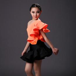 Wholesale Girls Fringe Costume - orange dance costumes for kids latin dress children green salsa rumba dress fringe girls dance wear set danza top and skirt