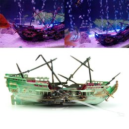 Wholesale fish cave - Free Shipping Aquarium Ornament Wreck Boat Sunk Ship Air Split Shipwreck Fish Tank Cave Decor