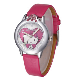 Wholesale New Kitty - wholesale 2017 Cartoon Fashion Brand Hello Kitty Watches Children Women Girl Leather Strap Casual Quartz Wrist Watch