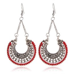 Wholesale Rope Studs - Fashion Long Drop Earrings For Women Jewelry Vintage Ethnic Hollow Carving Bohemian Rope Wrap Earrings DHL free shipping