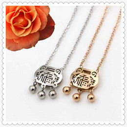 Wholesale Locking Choker Necklaces - Chinese Style Titanium Steel Hollow Longevity Lock Three Bells Gold and Silver Color Pendant Necklaces Choker for Women