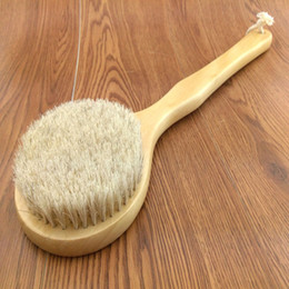 Wholesale Horse Massages - Wholesale-New Natural Bristle Long Horse Hair Handle Wooden Wood Bath Shower Body Back Brush Spa Scrubber