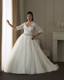 Wholesale Size 26 Ball Gown - New Plus Size White Ivory Bridal Gown Lace Custom Made Ball Gown Wedding Dress 16 18 20 22 24 26 28
