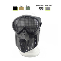 Wholesale Airsoft Mesh - Outdoor Airsoft Shooting Face Protection Gear Metal Steel Wire Mesh Full Face Bee Style Tactical Airsoft Mask