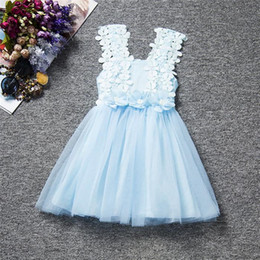 Wholesale Crochet Tutu For Baby - Kids Girls Lace Dresses Boutique 2017 Summer Baby Girl Crochet Suspender Dress Infant Princess Flower Dress for Party Children Clothing B52
