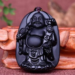 Wholesale Obsidian Buddha Pendant - natural Obsidian stone Hand carved buddha charm pendant necklace