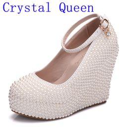 Wholesale Wedding Shoes Ivory Pearls - Crystal Queen Woman Platform Wedges White Ivory Pearl Crystal Rhinestone Wedding Bridal Shoes High Heels Pumps Wedges 11.5cm